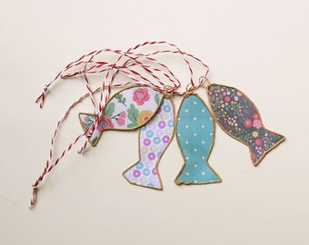 Set of 4 small fish in paper and kraft string to hang, wall decoration fish, decor mer,