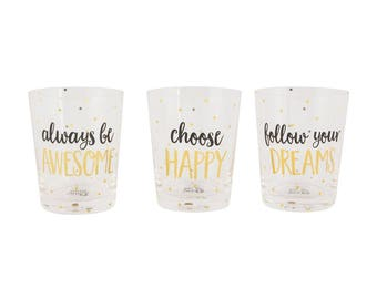 Set 3 metallic monochrome glass goblets