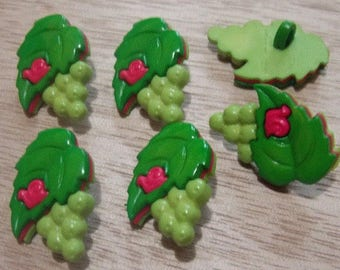 Set of six buttons with green grape foot