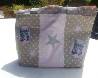 Meow satin tote bag pink and taupe