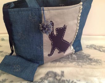 Cat print tote bag and her purse