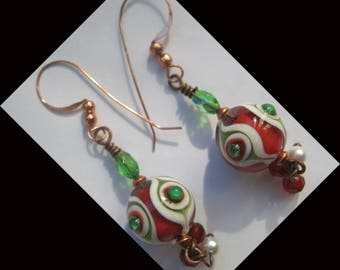 "Earrings copper ROSE ""Orient red, white, green"""