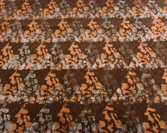 Batik by the yard - Brown/salmon/white - bkbz17