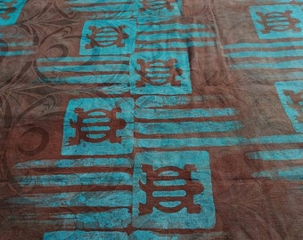 Batik by the yard - Brown, turquoise - bazin pattern Denkyem - BKBZ85