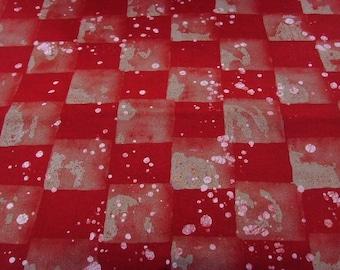Batik pattern - red - checkered - BK18 meter