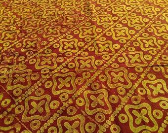 Bazin ethnic batik by the yard - red, lemon - BKBZ79 fabric