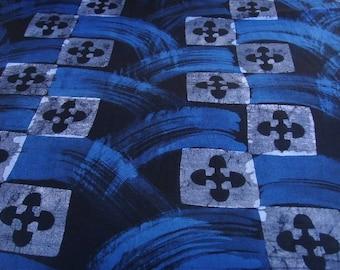 Batik by the yard - black/blue/white - pattern Akoma Ntoaso - bkvl31