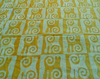 Fabric ethnic Batik by the yard - green, turquoise - pattern Gyawu Atiko - bkbz65