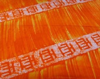 Batik by the yard - orange/yellow - pattern Hwemudua - bkbz39