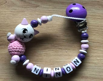 Pacifier clip personalized - pacifier - cat