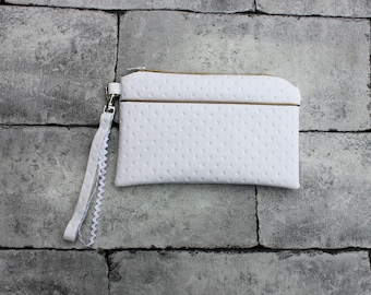 White and gold leatherette with wrist strap clutch