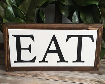 Eat Wood Sign | Wood Kitchen Sign | Rustic Wood Signs |