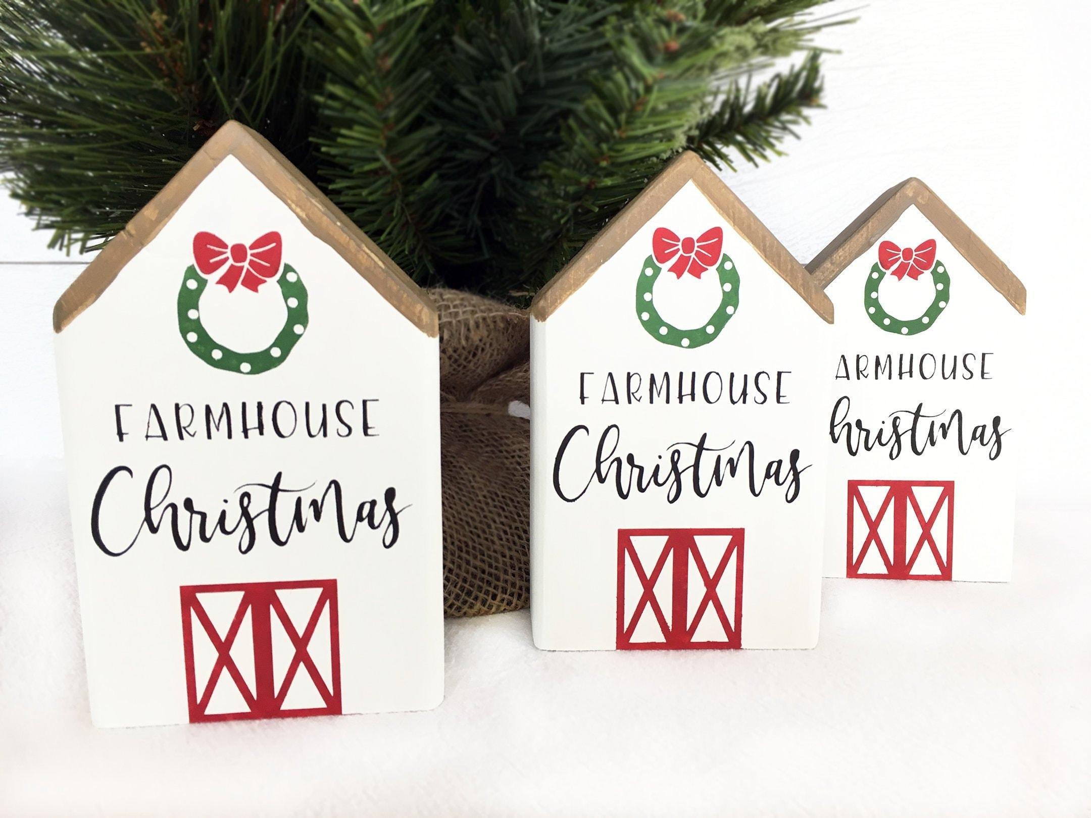 Christmas Wooden House Farmhouse Christmas Ornaments