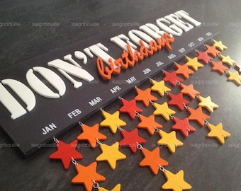 Personalized perpetual birthday calendar with stars