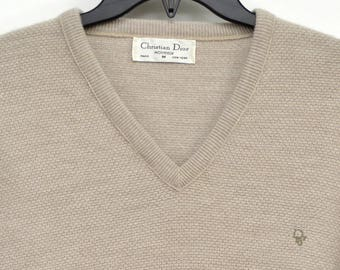 Vintage 1970s Christian Dior Monsieur M Logo V-Neck Sweater