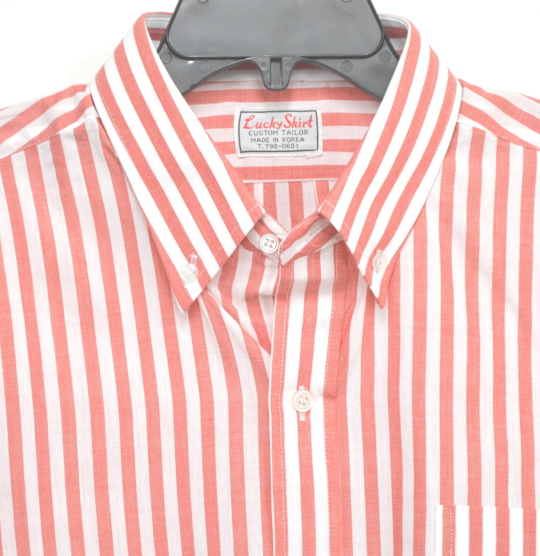 Vintage Lucky Shirt 48 Chest Custom Tailor Salmon Stripe Etsy