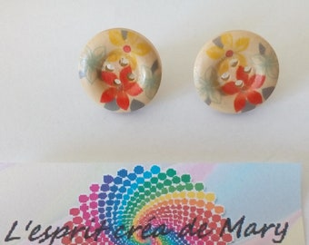 button Stud Earrings: colorful flowers