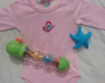 body girl pink 1 / 18 month long sleeved with a butterfly with your baby's name