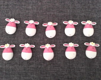 cute set of 10 sheep resin flower for customization, decoration...
