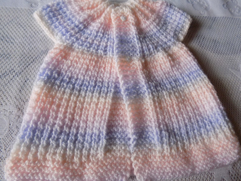 knit Short sleeve Cardigan jacket and ballerina shape matching booties size 3 to 6 months. pastel multicolor