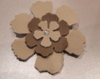 Leather rhinestone flower brooch