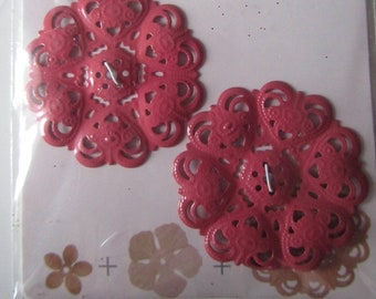 set of 2 flowers perforated metal to create a brooch, jewelry or other decoration