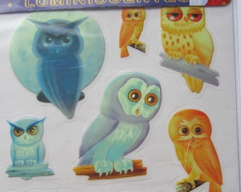 lovely luminescent stickers stickers - owls, owls