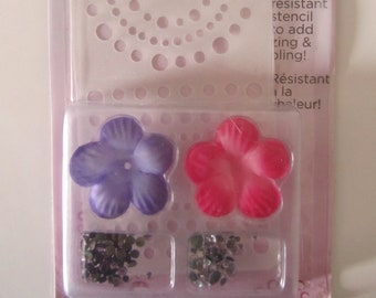 circle with Rhinestones and flowers - i-rock - stencil Kit