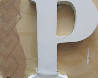 """Wooden painted white to decorate, customize - representing the letter """"P"""""""