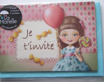 Set of 8 cards with 8 envelopes - lovely girl invitation