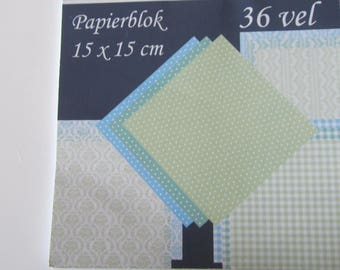 An assortment of 36 sheets of paper block - 15 cm x 15 cm - blues and Greens