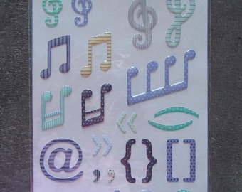 """STICKERS - scrapbooking - grounds """"Music"""" blues and Greens set - 3D at Artemio"""