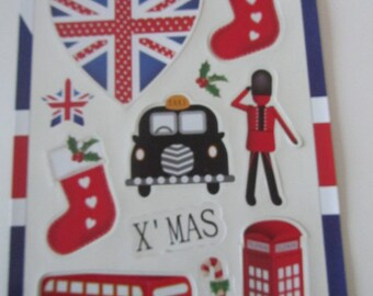 Santa Claus 12 Magnets for fridge or other themed Christmas and London