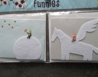 Set of 2 cards/brands sets with envelopes - Moon, stars, characters, winged horse