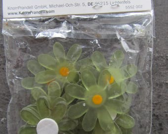 bag of 10 flowers decor Green Khaki yellow heart - 2.8 cm