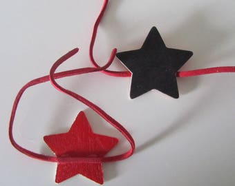 set of 5 chalkboard stars with red suede - brand square link