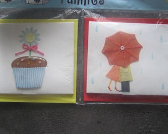 Set of 2 cards, place cards with envelopes - Cupcake and rain