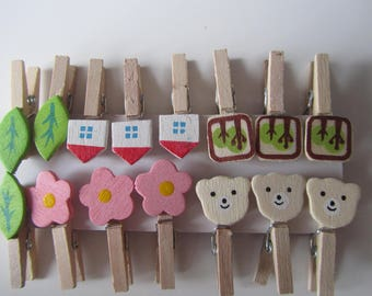 Set of 15 mini wooden clothespins decorated with a teddy bear, flower, leaf, House and tree