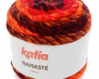 f93cb9fd42 Laine Katia NAMASTE, coloris 303, Rouge, Gris et Noir