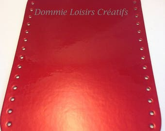 Bottom 28 x 17.5 eco leather, painted red - rectangle bag