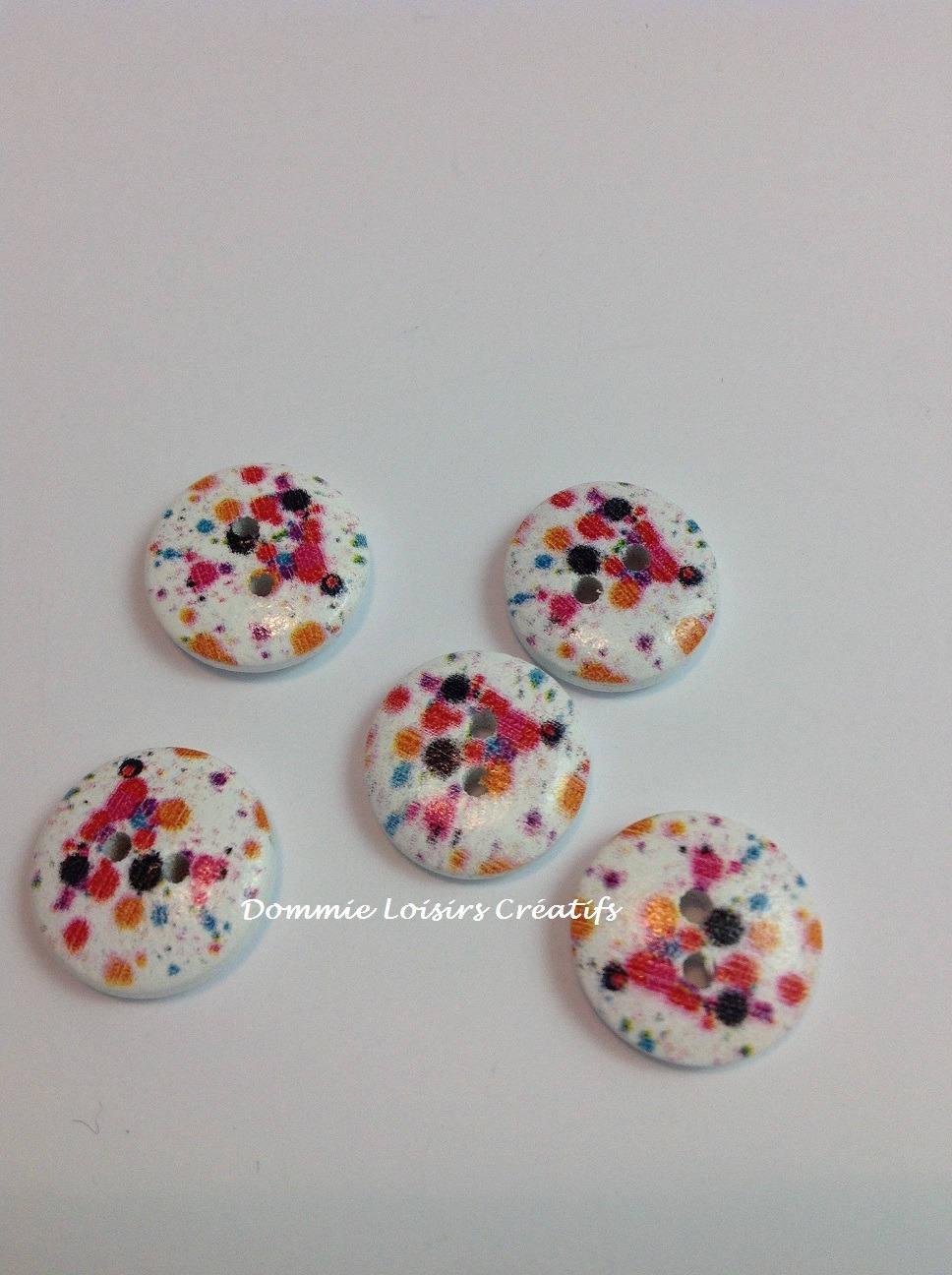 x 5 boutons 15 mm d co couture 2 trous multicolore etsy. Black Bedroom Furniture Sets. Home Design Ideas