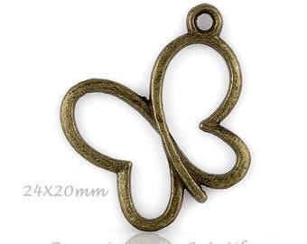 1 24x20mm Bronze Butterfly charm pendant