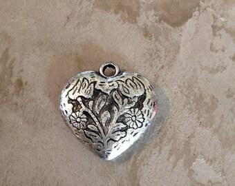 1 pendant - silver heart 30 mm reason flowers - jewelry making