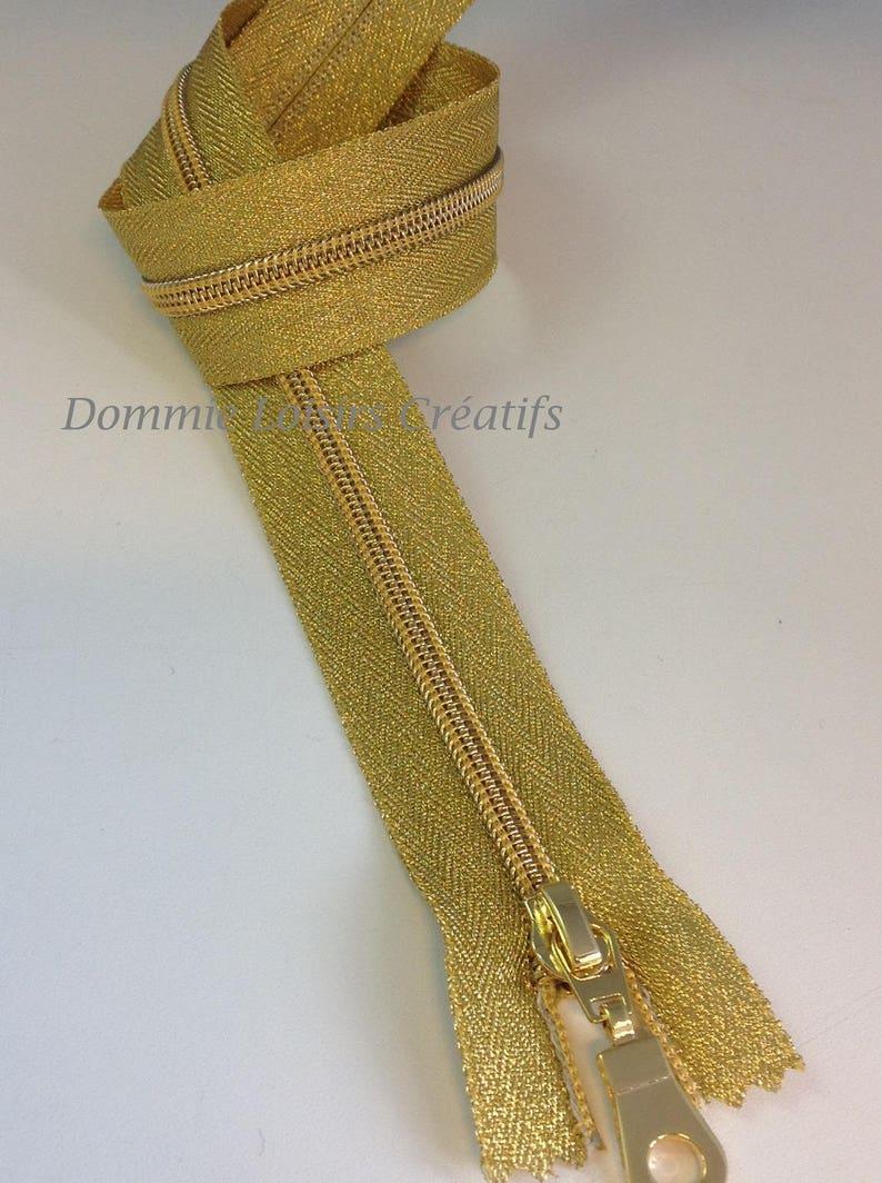 lurex gold Closure zipper 50 cm fine plastic mesh
