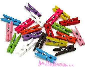 Set of 20 clips decorative multicolored scrapbooking *.