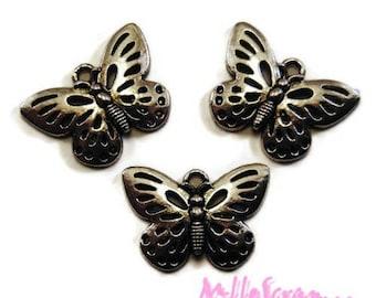 Set of 5 charms silver embellishment butterflies scrapbooking.*