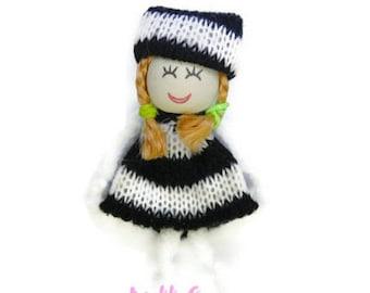 X 1 embellishment scrapbooking cardmaking 9.* wool doll