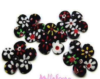 Set of 5 fabric flowers black embellishment scrapbooking cardmaking 7 (ref.310) *.