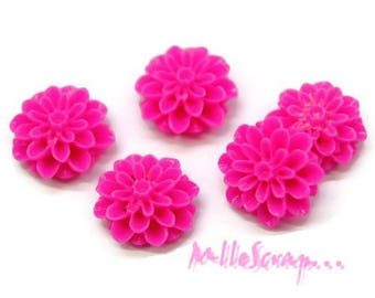 "Set of 5 flowers ""dahlia"" pink fluorescent resin embellishment scrapbooking (ref.410) *."