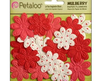 Set of 24 red paper flowers, white embellishment scrapbooking.* Petaloo